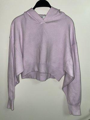Zara crop pullover sweatshirt hoodie M 38 Flieder Lila