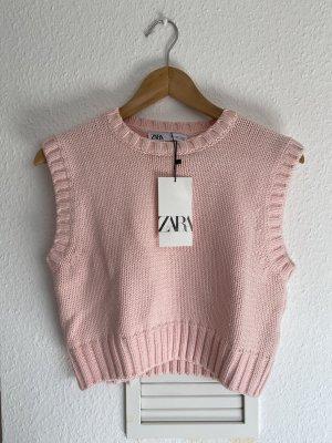 Zara Chaleco de punto rosa claro-rosa