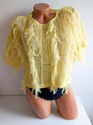 Zara crop top gelb Gr. S sommerlich Fransen