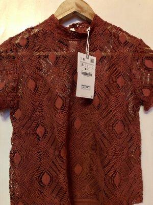 Zara Kanten blouse cognac-roodbruin