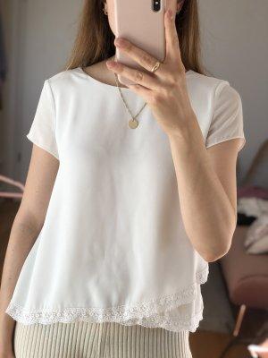 Zara Crop Top weiß Spitze Gr. S