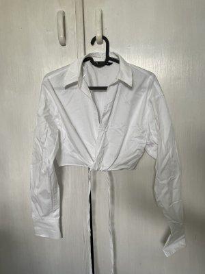 Zara cropped Bluse / Hemd zum binden weiß