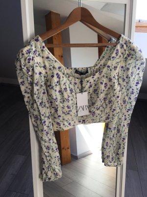 Zara Cropped Bluse M Blumen