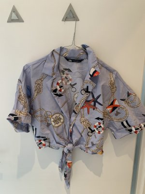 Zara Cropped Bluse maritime