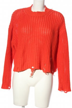 Zara Cropped Pullover rot Streifenmuster Casual-Look