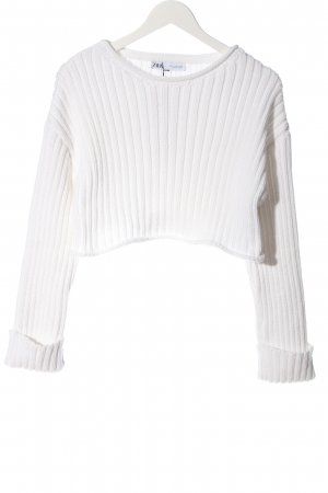 Zara Cropped Pullover weiß Casual-Look