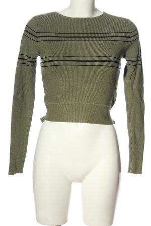 Zara Cropped Pullover khaki-schwarz Streifenmuster Casual-Look