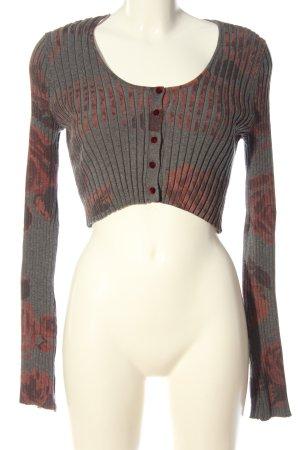 Zara Pull court gris clair-rouge imprimé allover style décontracté