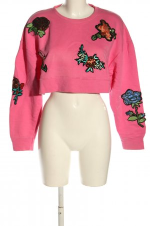 Zara Cropped Pullover pink Blumenmuster Casual-Look