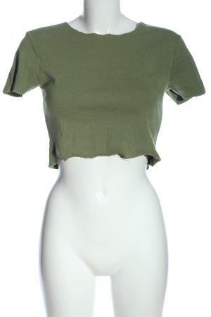 Zara Cropped Shirt khaki Casual-Look