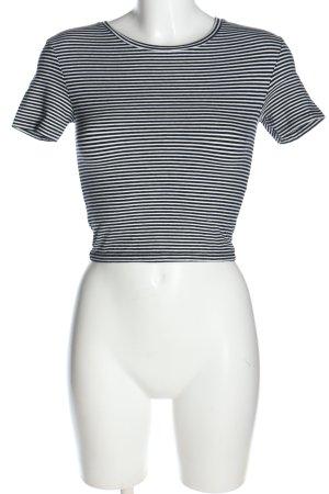 Zara Cropped Shirt schwarz-weiß Streifenmuster Casual-Look