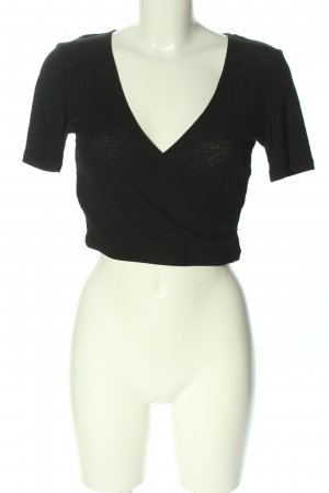 Zara Cropped Shirt schwarz Business-Look
