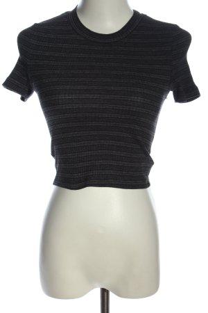 Zara Camisa recortada gris claro-negro estampado a rayas look casual