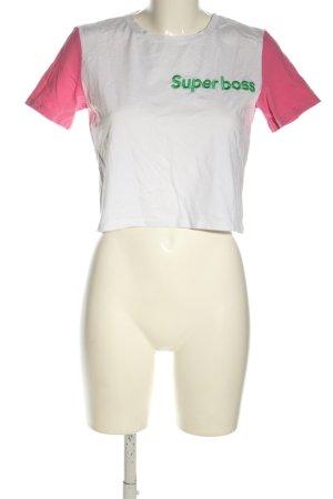 Zara Cropped Shirt Schriftzug gestickt Casual-Look