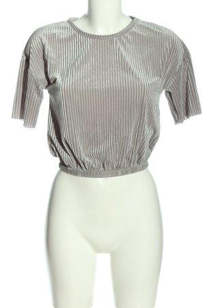 Zara Cropped Shirt hellgrau Streifenmuster Casual-Look