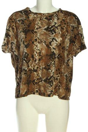 Zara Cropped Shirt Animalmuster Casual-Look
