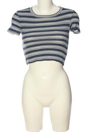 Zara Cropped Shirt blau-creme Streifenmuster Casual-Look