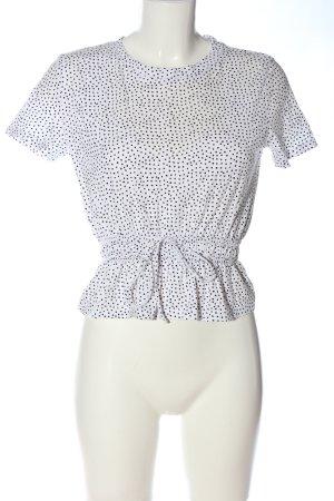 Zara Cropped shirt wit-zwart gestippeld patroon casual uitstraling