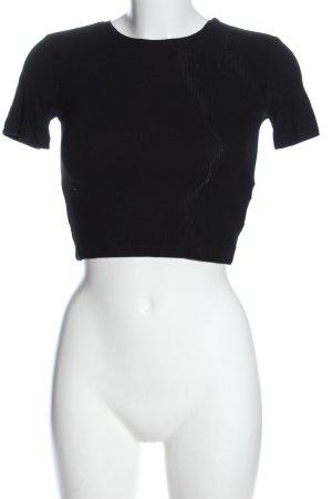 Zara Cropped Shirt schwarz Casual-Look