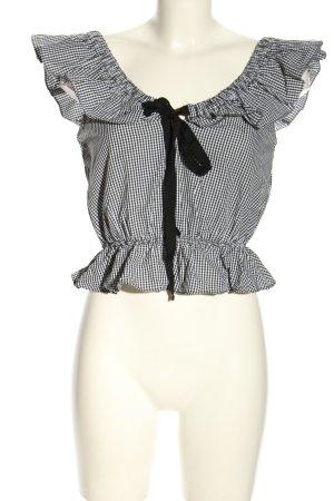 Zara Cropped Shirt schwarz-weiß Karomuster Casual-Look