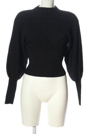 Zara Maglione dolcevita nero motivo a righe stile casual