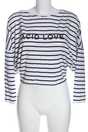 Zara Koszula o skróconym kroju biały-czarny Wydrukowane logo Elegancki