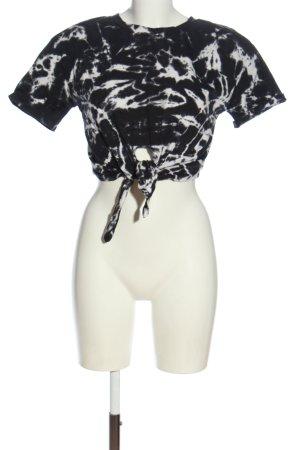 Zara Koszula o skróconym kroju czarny-biały Abstrakcyjny wzór W stylu casual