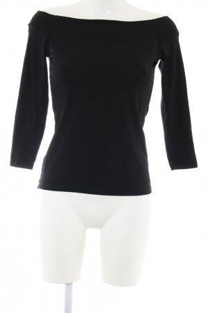Zara Cropped Shirt schwarz Business-Look
