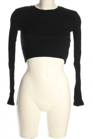Zara Cropped Shirt schwarz Casual-Look
