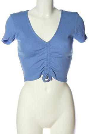 Zara Cropped Shirt blau Streifenmuster Casual-Look