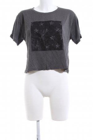 Zara Cropped Shirt hellgrau-schwarz Motivdruck Casual-Look