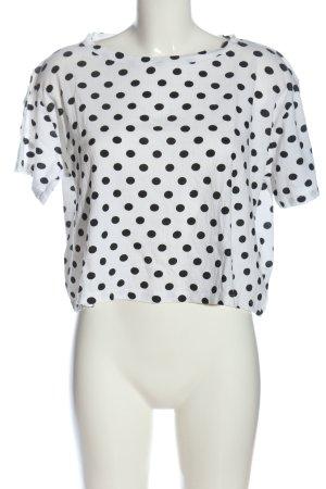 Zara Cropped Shirt weiß-schwarz Punktemuster Casual-Look