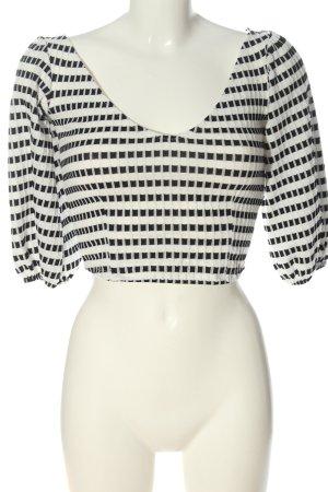 Zara Cropped Shirt weiß-schwarz Allover-Druck Casual-Look
