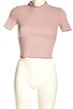 Zara Cropped Shirt wollweiß-rot Streifenmuster Casual-Look