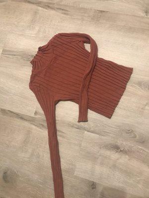 Zara  cropped Shirt Rollkragen bauchfrei s /36 38 m langarmig dunkellachs....