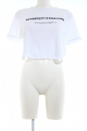 Zara Camicia cropped bianco caratteri stampati stile casual