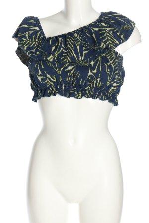 Zara Cropped Top blau-blassgelb Allover-Druck Casual-Look