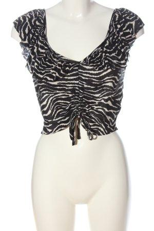 Zara Cropped Top schwarz-weiß Animalmuster Casual-Look