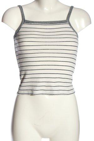 Zara Top o skróconym kroju biały-czarny Wzór w paski W stylu casual