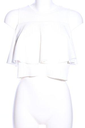 Zara Cropped Top weiß Casual-Look