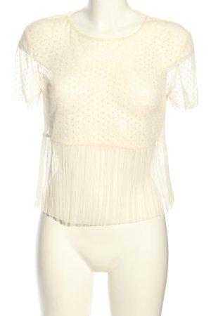 Zara Cropped Top creme Punktemuster Elegant