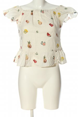 Zara Crop-top blanc imprimé allover style décontracté