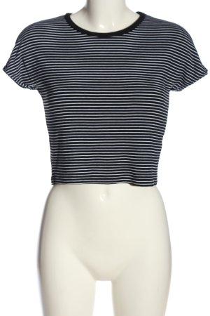 Zara Cropped Top schwarz-weiß Streifenmuster Casual-Look