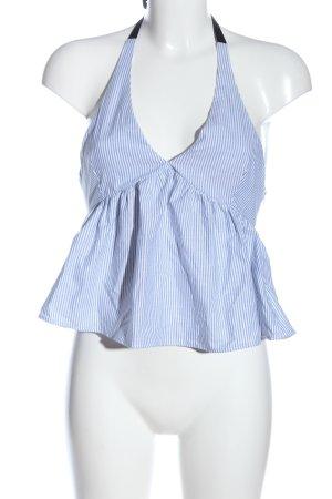 Zara Top o skróconym kroju biały-niebieski Wzór w paski W stylu casual