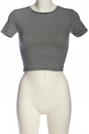 Zara Cropped Top schwarz-wollweiß Streifenmuster Casual-Look