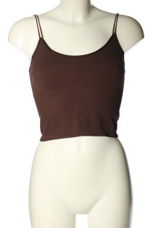 Zara Cropped Top braun Streifenmuster Casual-Look