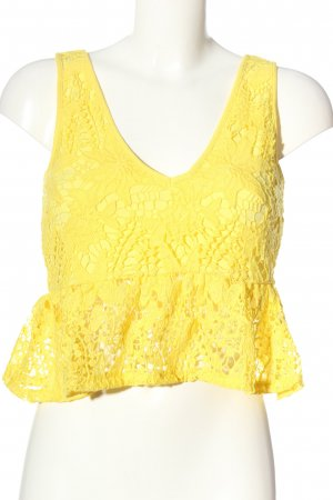 Zara Cropped Top blassgelb Party-Look
