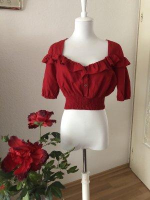 Zara T-shirt court rouge-rouge foncé