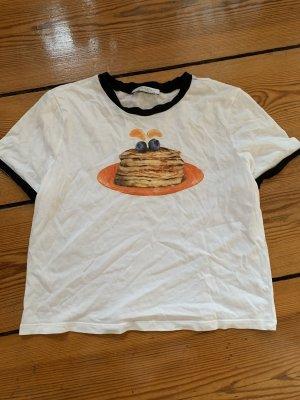 Zara Cropped Top Weißes T-Shirt Schwarzer Saum mit Pancakes S