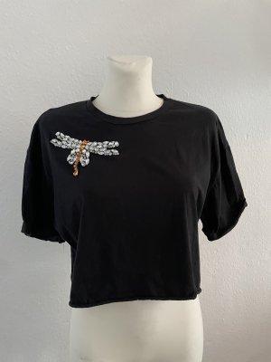 Zara cropped tshirt gr S Steinen schwarz